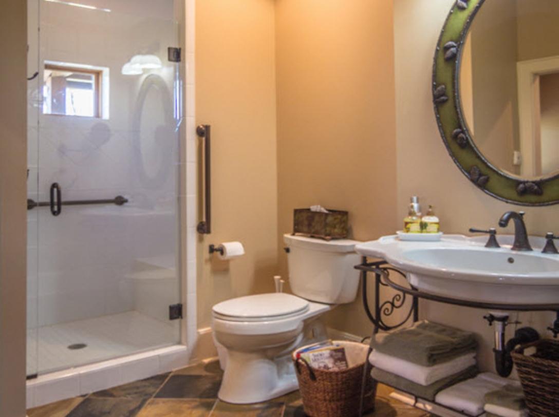 Queen Bedroom Bathroom - of Buttercup Haven - Franklin Vacation Rental NC