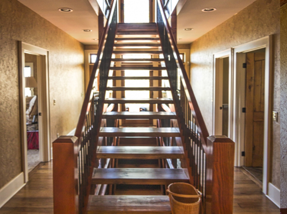 Stairway to second floor of Buttercup Haven - Franklin Vacation Rental NC
